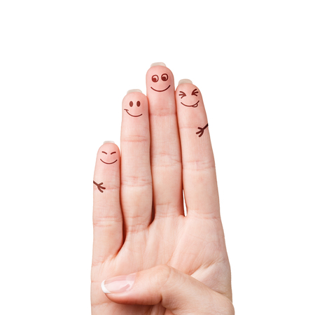 fingers: Happy fingers family isolated on white background