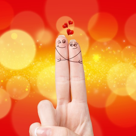 fingers: Happy loving fingers hugging isolated on white