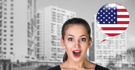 linguist: Woman and bubble with american flag. Learning of foreign languages concept.