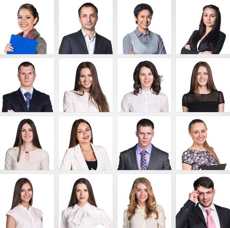ビジネス人々 の肖像画のコラージュ。正方形の形。白背景