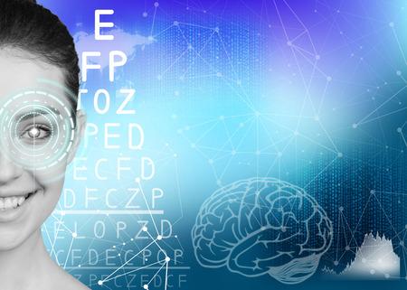 background lines: Woman on eyesight exam with alphabet on blue background