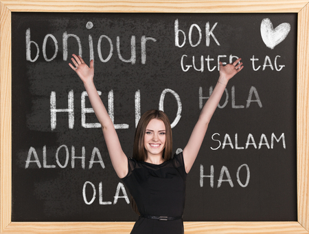 hola: Woman near words hello in different languages on chalkboard
