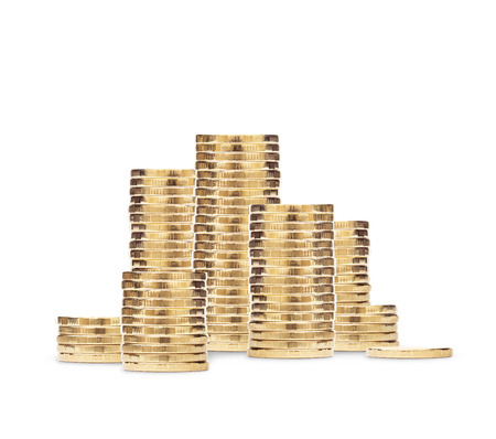 money pound: Stack of golden coins isolated on the white background