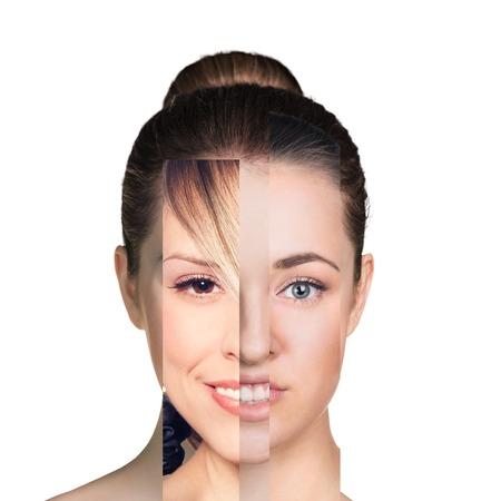 Human vrouwelijk gezicht gemaakt van verschillende mensen, artistiek begrip Stockfoto