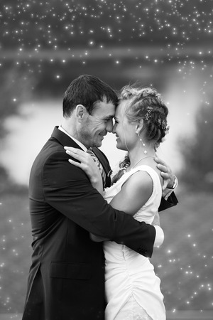 bride and groom background: Bride and Groom embracing with happy smile on their faces
