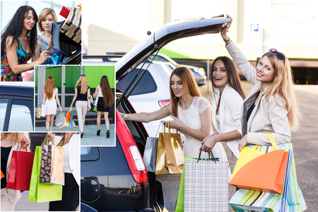 after shopping: Happy women put packages in the car trunk after shopping Stock Photo