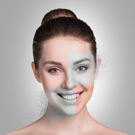 Perfect female face made of different faces. Plastic surgery concept.