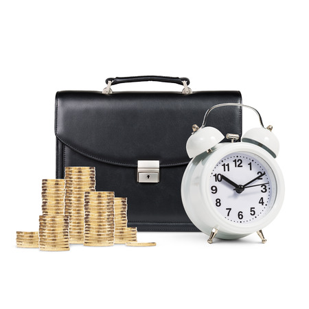 black briefcase: Classical alarm clock and black briefcase and golden coins stands isolated on white