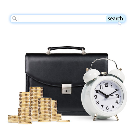 black briefcase: Classical alarm clock and black briefcase and golden coins with search line isolated on white Stock Photo