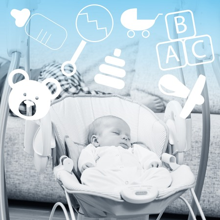 nipple young: Newborn sleeping in baby swing with childlike icon overhead