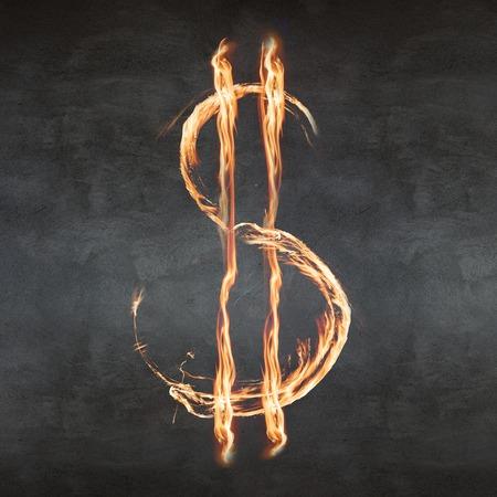 money to burn: Dollar symbol blazing on the gray background Stock Photo