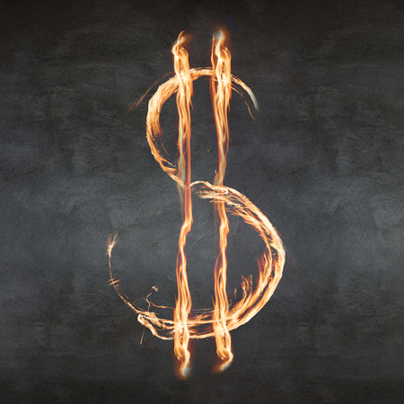 flame letters: Dollar symbol blazing on the gray background Stock Photo