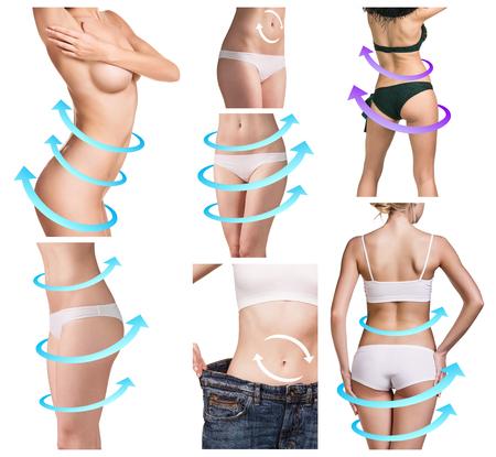 grosse fesse: Collage de corps f�minin avec les grandes fl�ches de dessin bleu. Fat perdre, la liposuccion et le concept de l'�limination de la cellulite.
