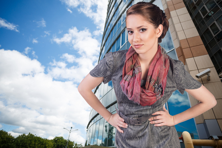 sexy business woman: Portrait of beautiful young business woman outdoors background
