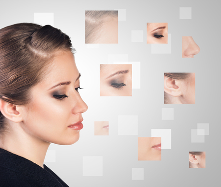 cosmetic treatment: Perfect female face made from faces parts .Plastic surgery concept.