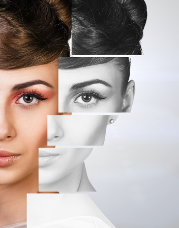 plastic made: Perfect female face made of different faces. Plastic surgery concept.