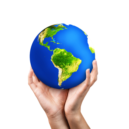 save the planet: Hands holding earth on white background.