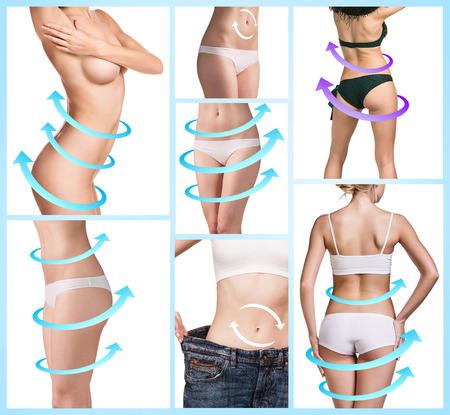 culo di donna: Collage di corpo femminile con le grandi frecce disegno blu. Perdere grasso, la liposuzione e il concetto eliminazione della cellulite.