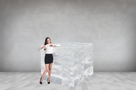 Business woman near big ice cube in the gray room Stock Photo