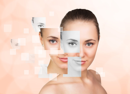 plastic made: Perfect female face made from faces parts .Plastic surgery concept.