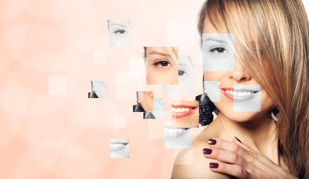 Perfect female face made from faces parts .Plastic surgery concept.