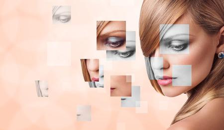 Visage féminin Parfait faite à partir du concept de chirurgie visages de pièces. Banque d'images - 52405187