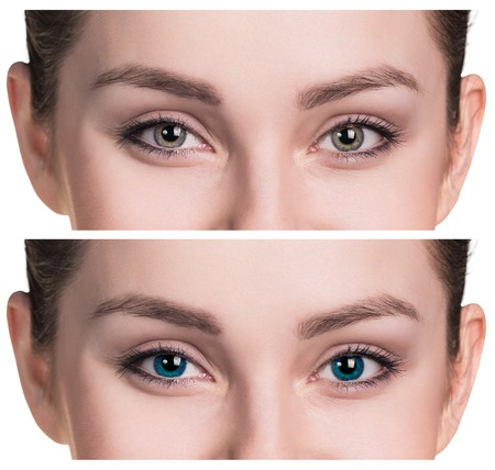 look after: Beautiful female eyes close up in color contact lenses