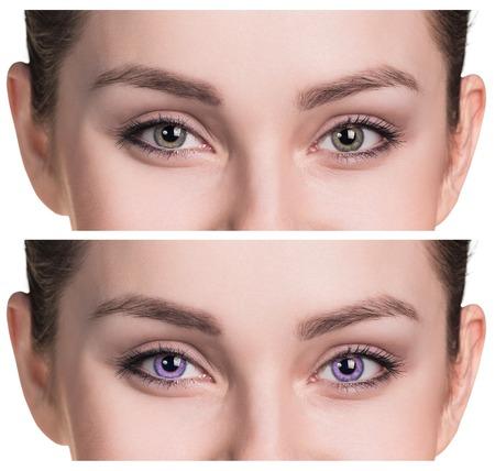 lentes de contacto: Bellos ojos femeninos cerca de las lentes de contacto de color