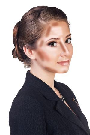 cheekbones: Make up woman face. Contour and Highlight makeup. Professional Contouring face make-up sample