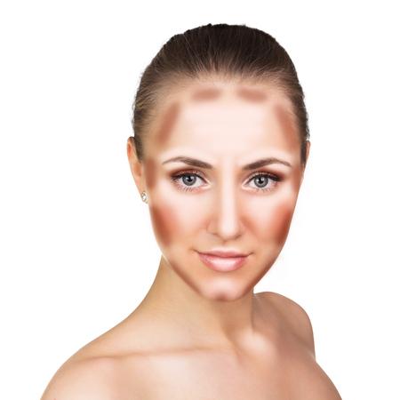 highlight: Make up woman face. Contour and Highlight makeup. Professional Contouring face make-up sample