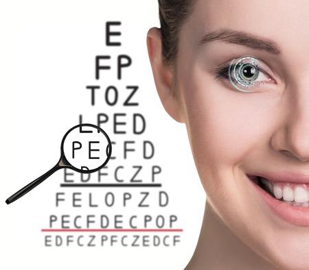 Man with glasses on eyesight test isolated on white background Stock Photo
