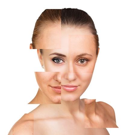Portret van een perfecte vrouwelijk gezicht met delen zonder make-up
