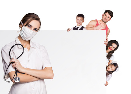 pediatrist: Family at the doctor appointment isolated on the white background