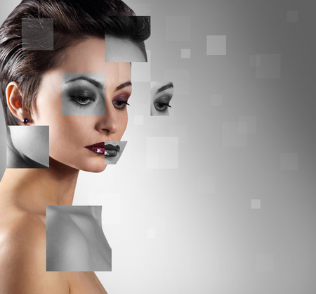 plastic made: Perfect female face made from faces parts. Plastic surgery concept. Stock Photo