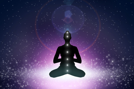 centers: Silhouette of young woman in yoga position in cosmoc space