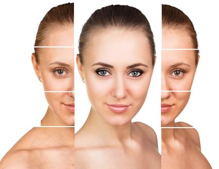 ritratto comparativa di volto femminile, con e senza trucco