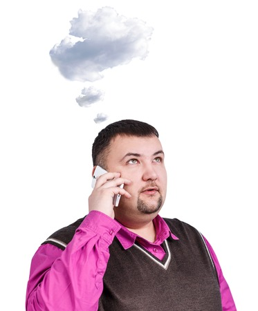 daydream: Overweight businessman daydream and speak on the phone with cloud owerhead isolated on white Stock Photo