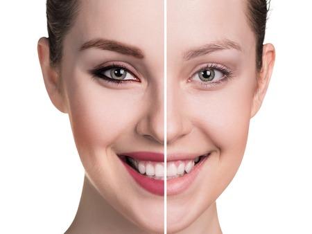 없이 메이크업 여성 얼굴의 비교 초상화, 스톡 콘텐츠