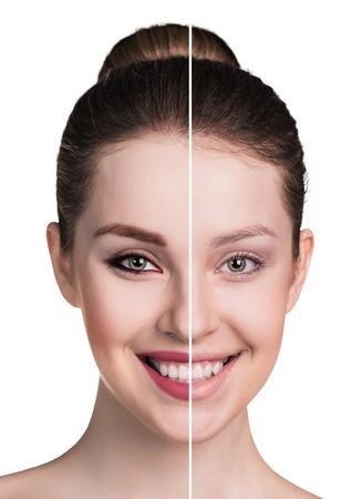 Vergleichs Porträt der weiblichen Gesicht, ohne und mit Make-up Standard-Bild - 54248253