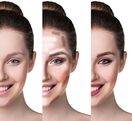 Vergelijkende portret van vrouwelijk gezicht, zonder en met make-up