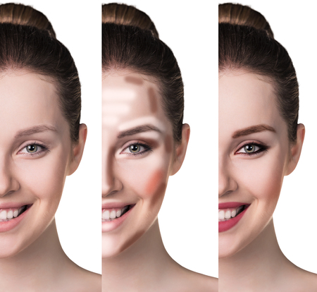 Vergleichs Porträt der weiblichen Gesicht, ohne und mit Make-up Standard-Bild - 54248254