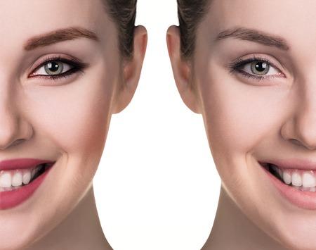 Vergleichs Porträt der weiblichen Gesicht, ohne und mit Make-up Standard-Bild - 54248255