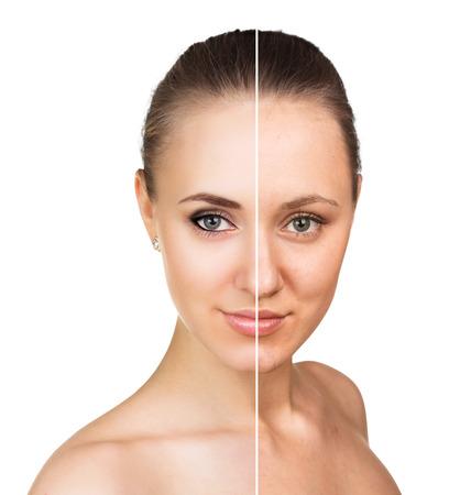 retrato comparativo de la cara femenina, con y sin maquillaje Foto de archivo