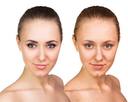 aging: Comparative portrait of female face, without and with makeup Stock Photo