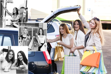 car trunk: Happy women put packages in the car trunk after shopping Stock Photo