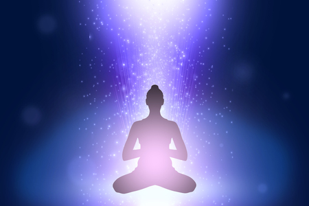 karmic: Silhouette of young woman in yoga position in cosmoc space