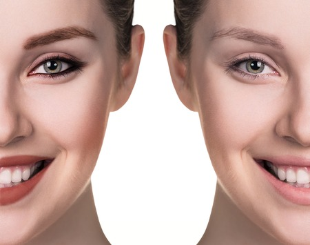 Comparative portrait of female face, without and with makeup Stock Photo