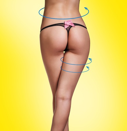 female buttocks: Beautiful female buttocks with the arrows cycle Stock Photo
