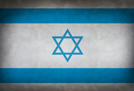 israeli: Israeli flag painted on the wall. Israeli flag background Stock Photo