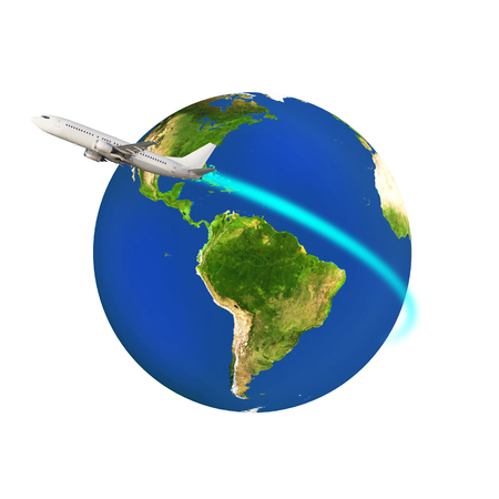circling: Airplane circling a colorful globe earth isolated on white.